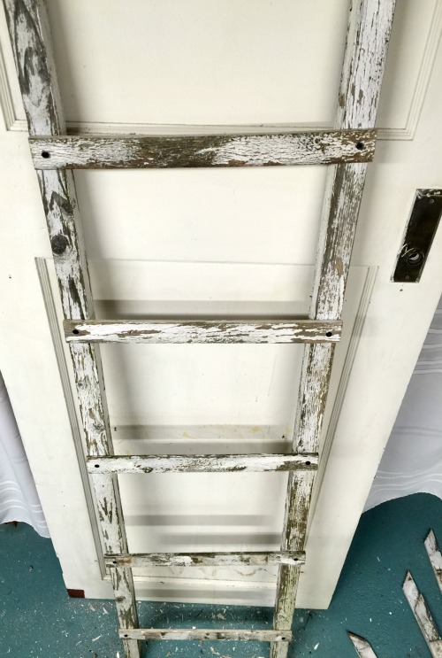 Distressed and chippy ladder