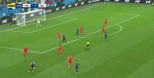 Mbappe skill during France versus Belgium semi final match at Russia 2018 World Cup