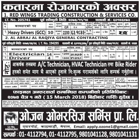 Jobs in Qatar for Nepali, Salary Rs 63,184