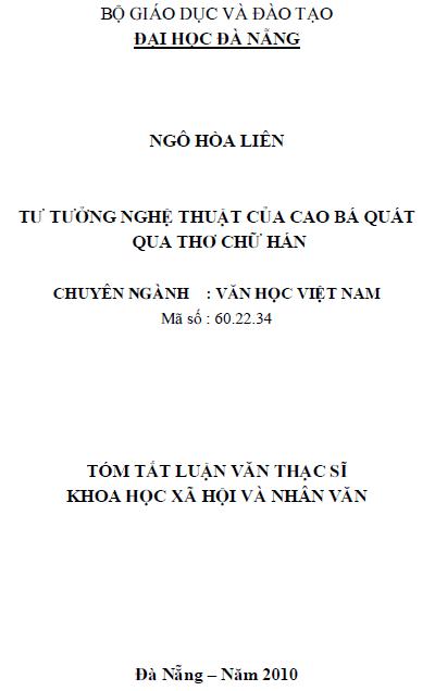 Tư tưởng nghệ thuật của Cao Bá Quát qua thơ chữ Hán