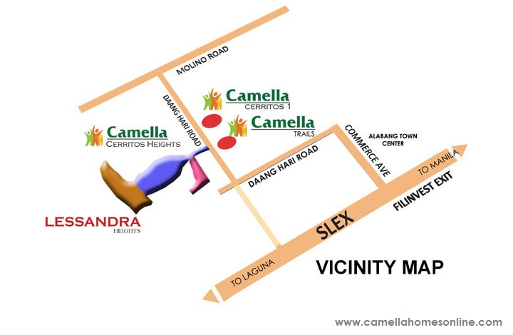 Vicinity Map Location Dorina Uphill - Camella Cerritos | Crown Asia Prime House for Sale Daang Hari Bacoor Cavite