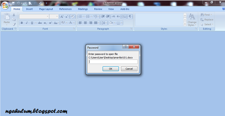 Cara Memberi Password di Document Microsoft Word 2007 dan 2013