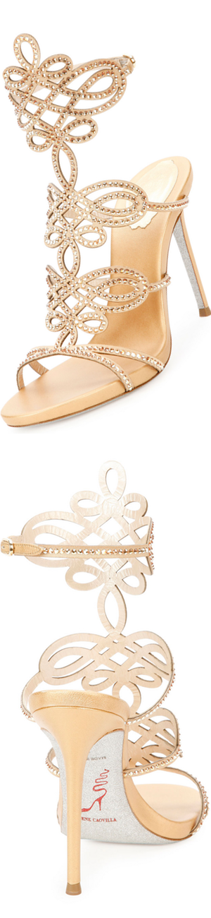 Rene Caovilla Laser-Cut Crystal 105mm Sandal, Gold