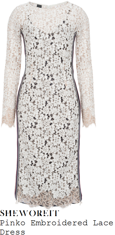 holly-willoughby-pinko-white-and-black-monochrome-sheer-floral-eyelash-lace-overlay-long-sleeve-contrast-stripe-panel-detail-scalloped-edge-pencil-dress