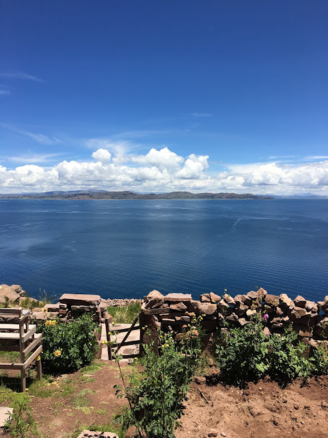 view over Lake Titicaca from the top of Taquile Island,