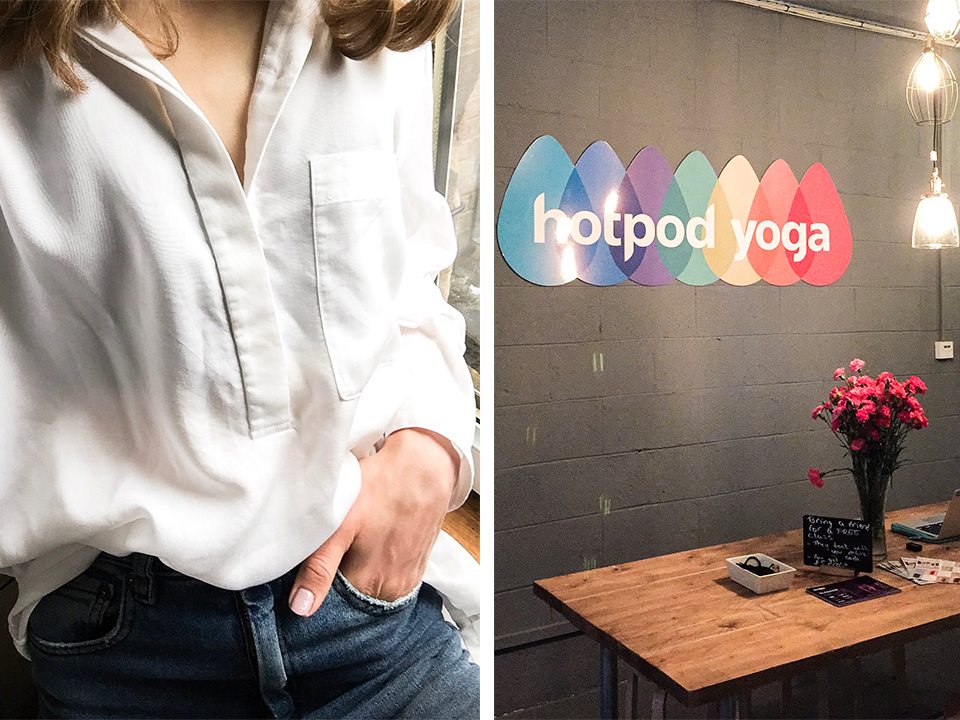 white-shirt-denim-hotpod-yoga-glasgow
