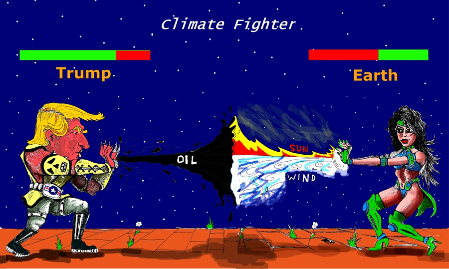 IaTriDis Γελοιογραφία με θέμα την απόσυρση της Αμερικής από την συνθήκη του Παρισιού για την κλιματική αλλάγη (Climate change).