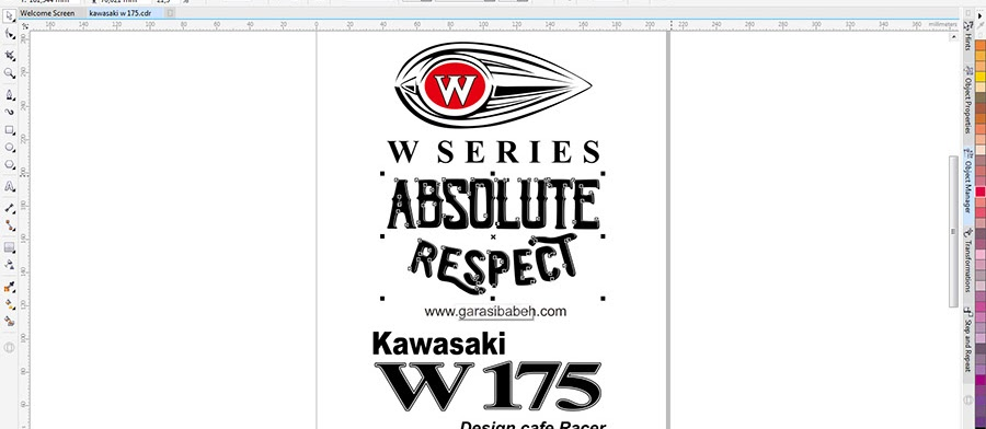 W 175 Series Kawasaki Absolute Respect Vector Logo Coreldraw