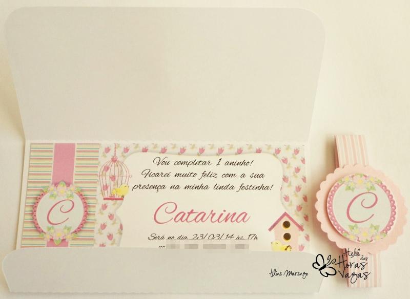 convite aniversário artesanal infantil provençal floral delicado jardim passarinho pássaros menina 1 aninho