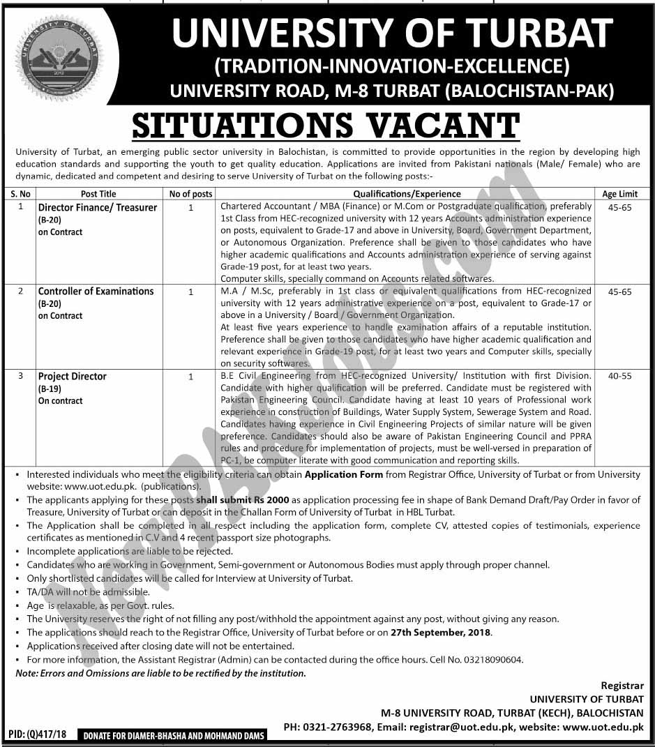 University of Turbat Latest September 2018 Jobs