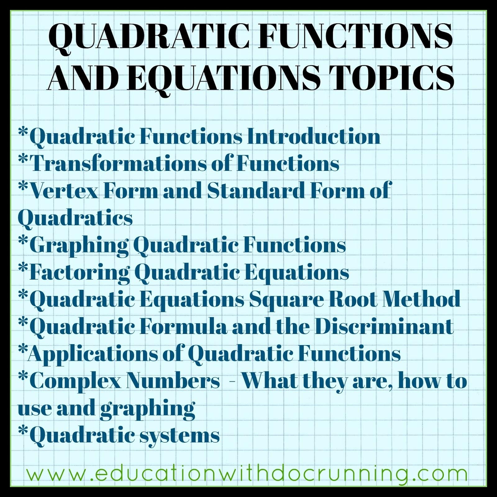 Math Mondays: Quadratics in Algebra 2 | Education with
