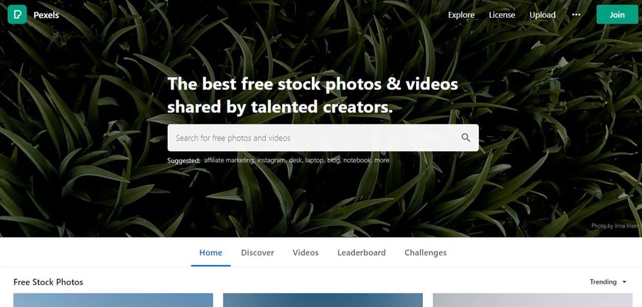 Pexels free stock photos blogging tool
