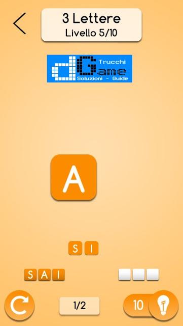 AnagrApp soluzione pacchetto 1 (3 lettere) livelli 1-10