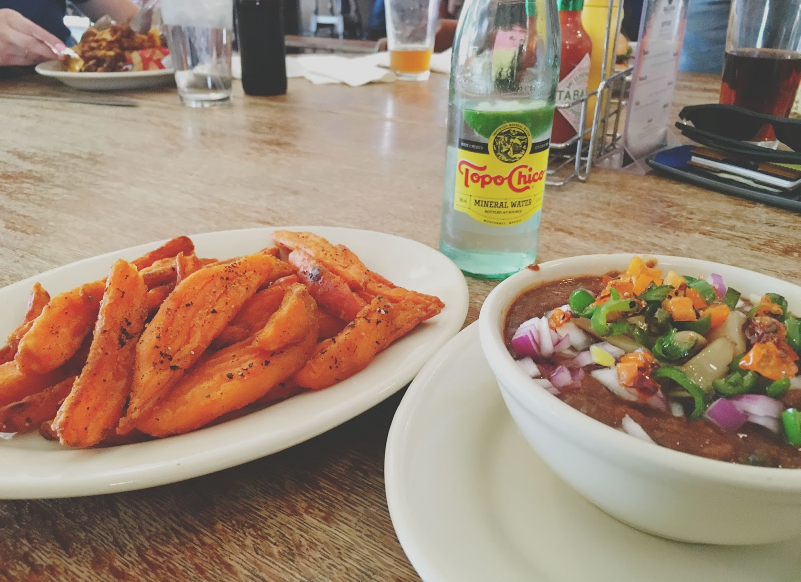 sweet potato fries and vegan chili at The Phoenix Saloon - a restaurant in New Braunfels, Texas
