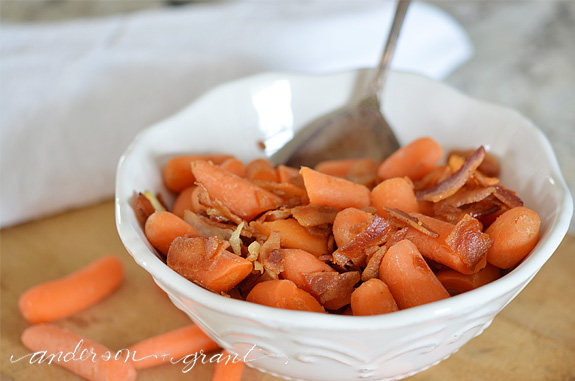 Carrots with Sauteed Onions and Bacon.  Delicious recipe at www.andersonandgrant.com
