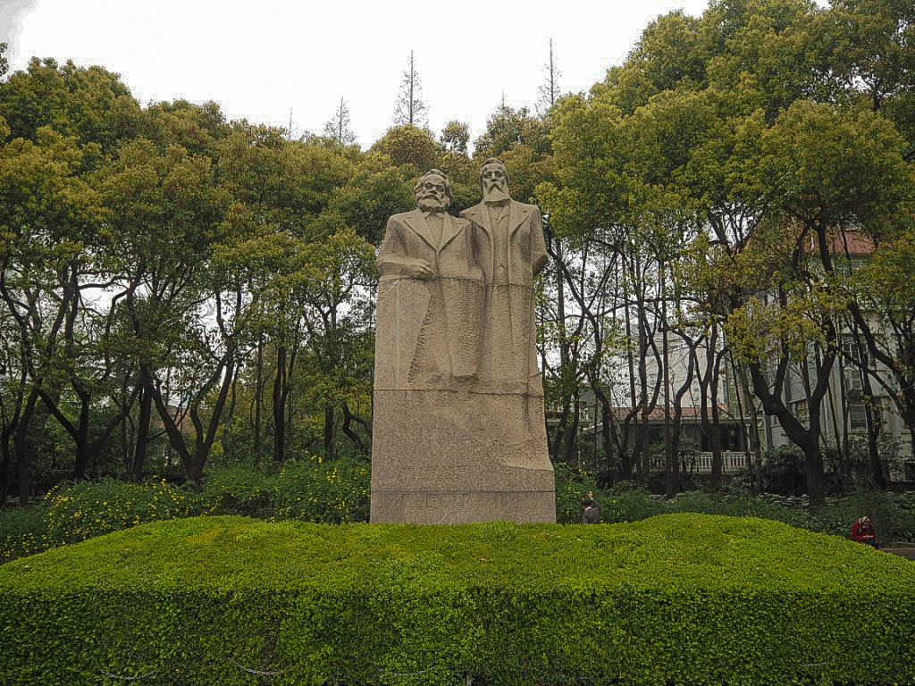 Marx and Engels statue in Fuxing Park, Shanghai