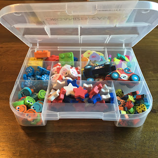 Found these plastic storage organizers at the Dollar Tree.  Cheap way to organize and store math manipulatives!