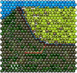 Large hex map of land split by a river. There is a line marking the party's path into the southern half of the map, ending in hex 0 8 2 0.