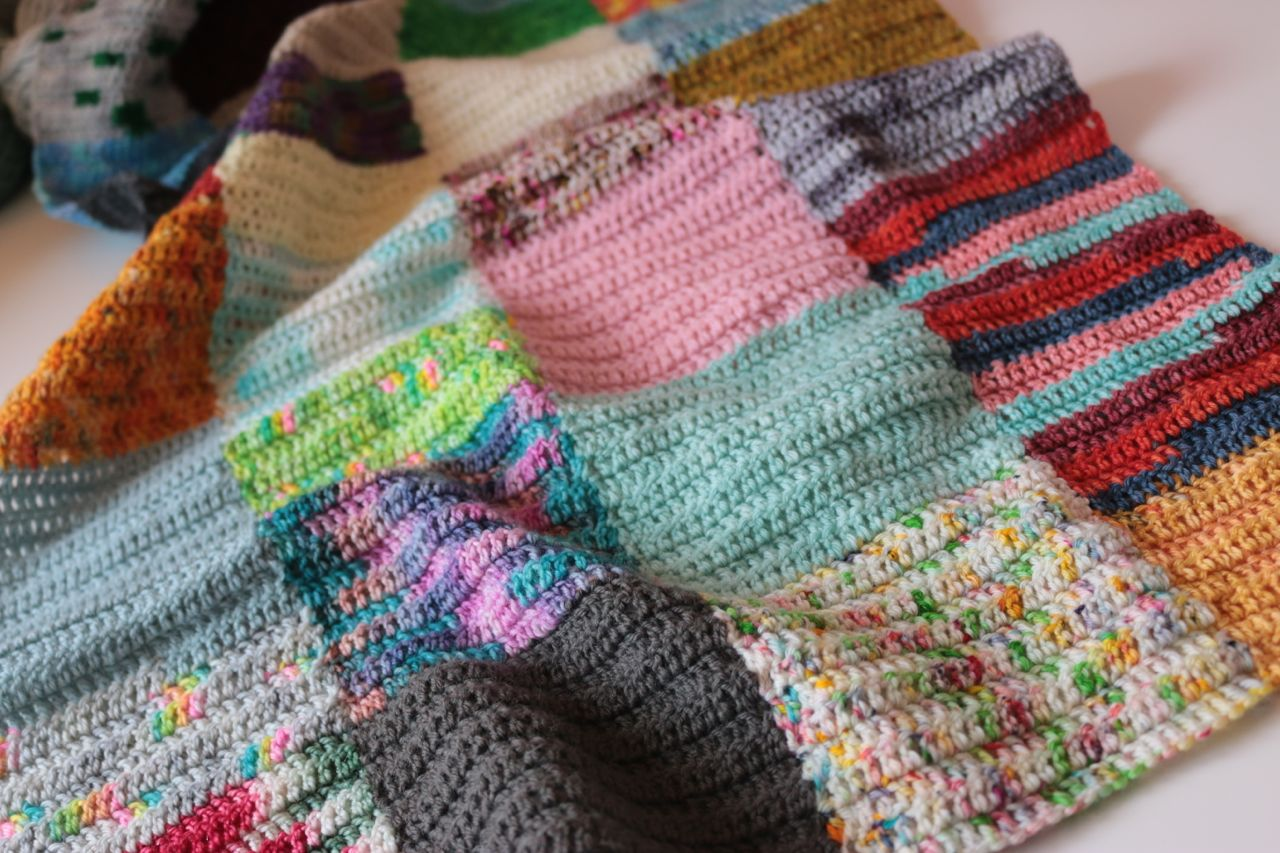 Knitting Pattern For Peggy Squares : Happy Scrappy Squares Blanket