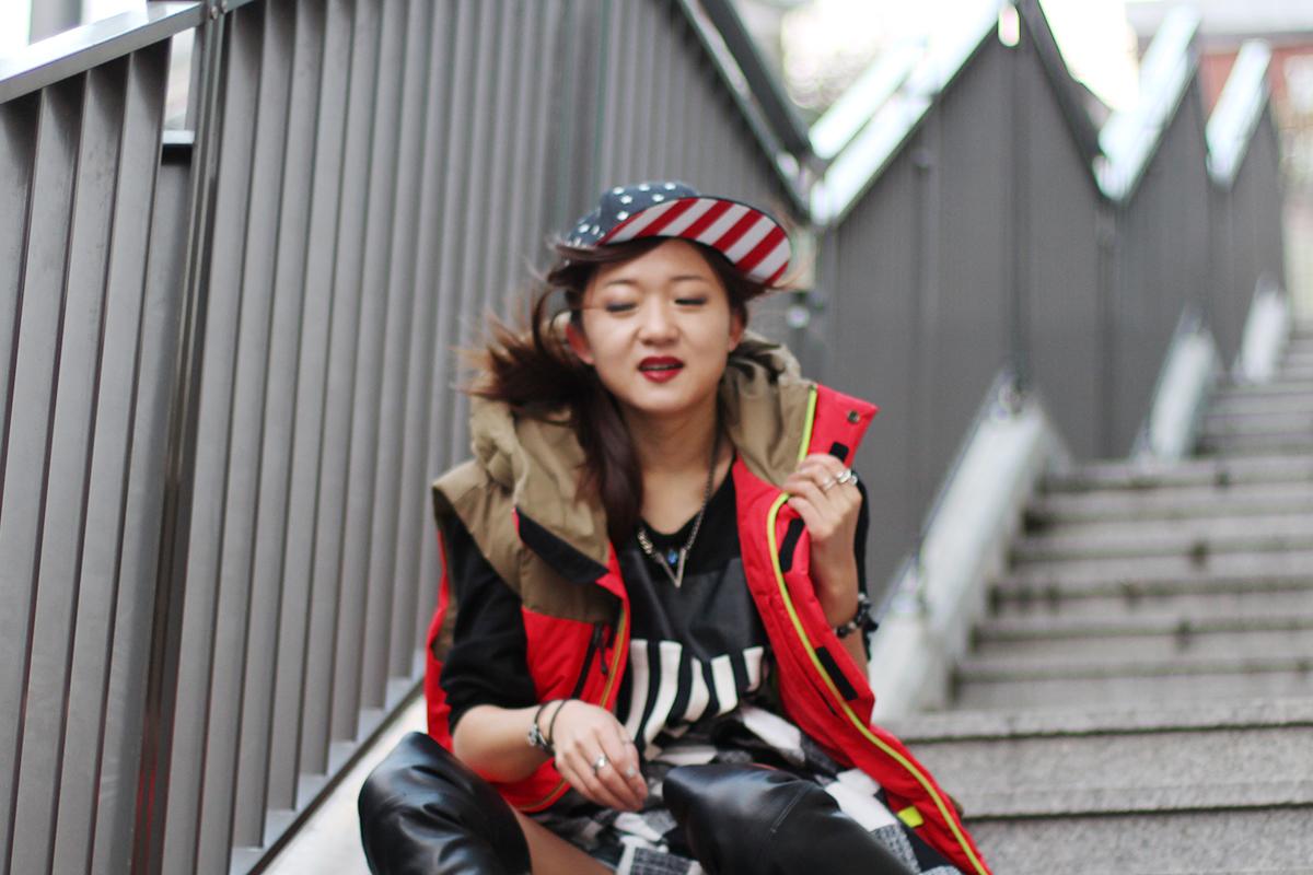 стиль гранж, идеалогия стиля гранж, корея, фешн блоггер, смешения принтов, смешение рисунков, аксессуары из кореи