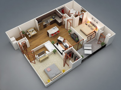 modern 3D floor plan for two bedroom apartment design