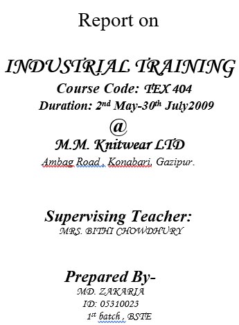 An Industrial Training Report in M M Knitwear Ltd - Garments Pedia - training report