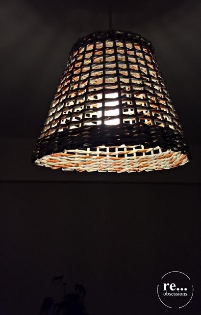 Lamp, shade lamp, basket, copper, paper weaving, wicker paper, papierowa wiklina, abażur, lampa, miedź, handmade, rękodzieło