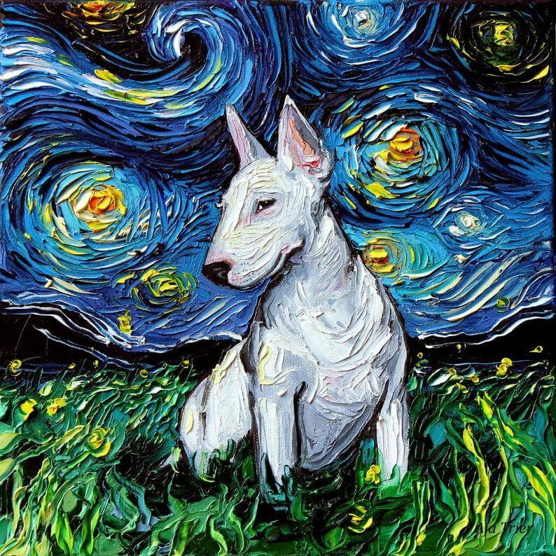 07-Bull-Terrier-Aja-Trier-The-Starry-Night-Dog-Paintings-www-designstack-co
