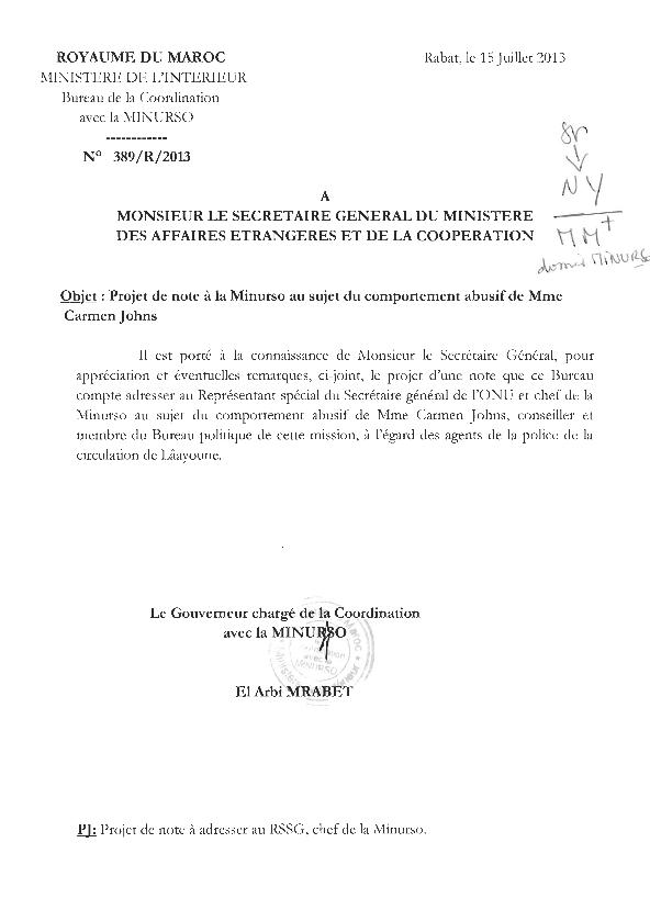 diaspora saharaui moroccoleaks le maroc se plaint de mme johns officier de la minurso. Black Bedroom Furniture Sets. Home Design Ideas