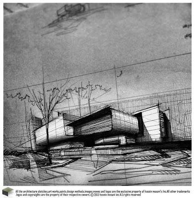 sketsa gambar bangunan