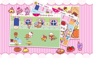 Screenshots of the Hello Kitty: Cafe Seasons for Android tablet, phone.