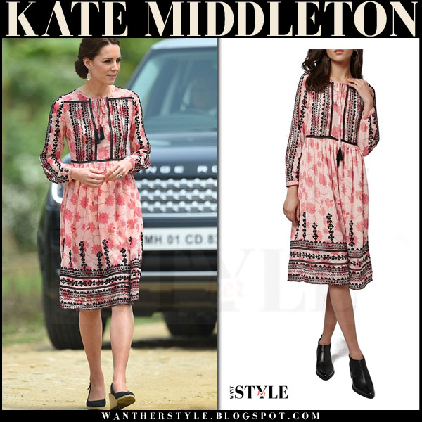 Kate Middleton in pink embroidered boho print midi dress topshop and pied a terre espadrille wedges royal tour what she wore