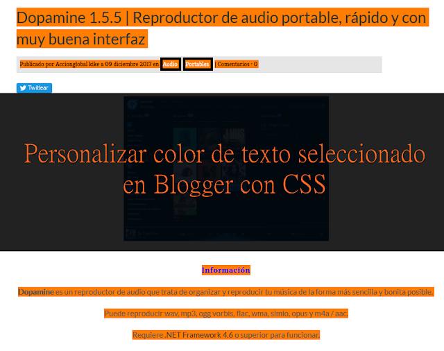 Personalizar color de texto seleccionado en Blogger con CSS