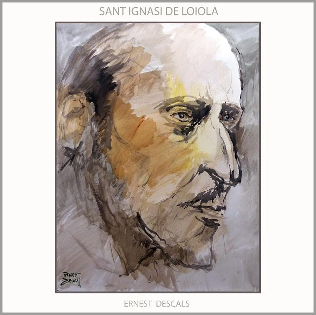SANT IGNASI-LOIOLA-ART-PINTURA-RETRAT-SAN IGNACIO DE LOYOLA-ARTE-RETRATO-GOUACHE-PINTURAS-MANRESA-ARTISTA-PINTOR-ERNEST DESCALS-