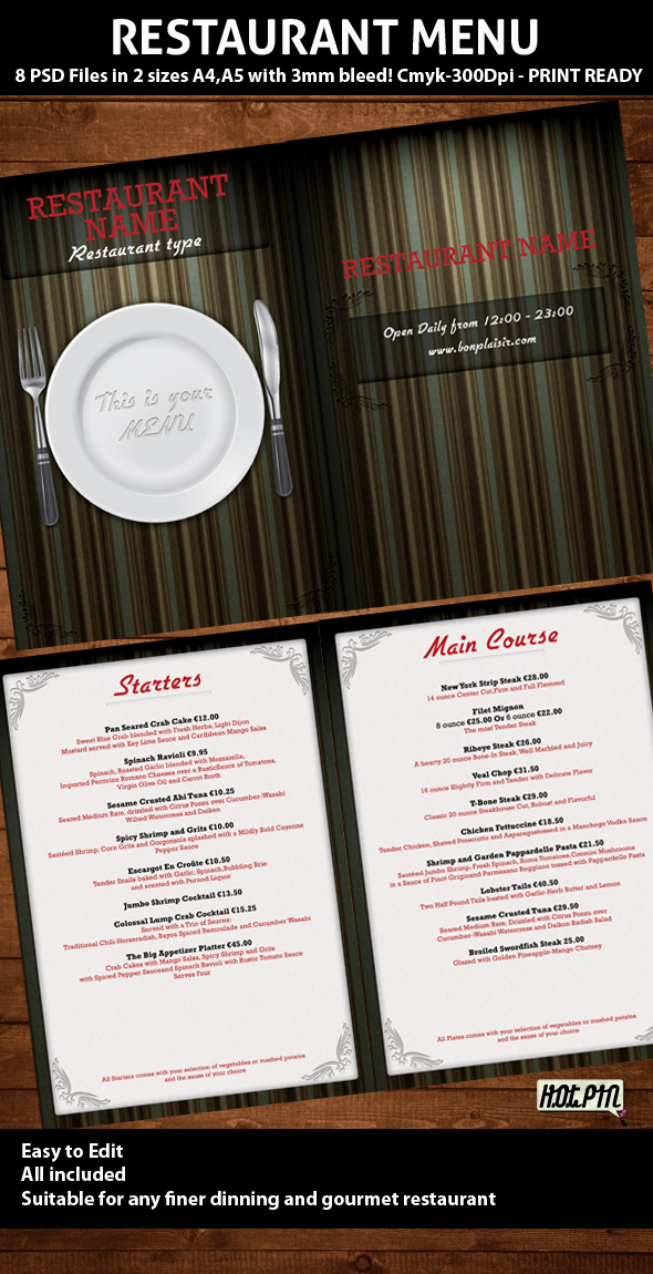 Elegant restaurant menu psd template for Resturant menu templates