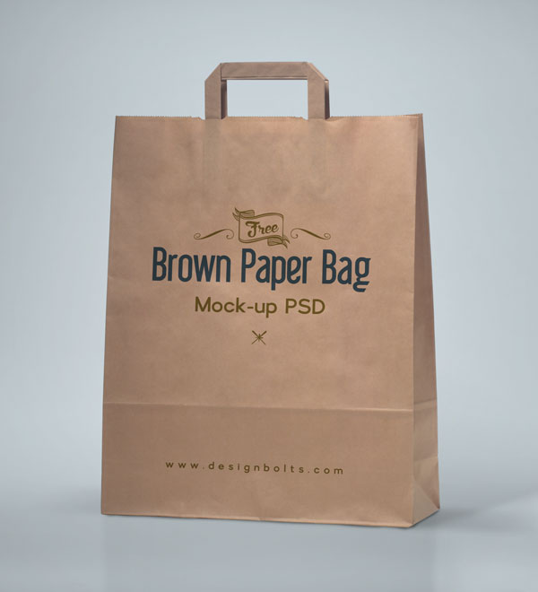 Free Brown Shopping Bag Packaging Mock-up