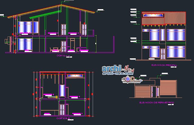 Family house 8x20 mts in AutoCAD