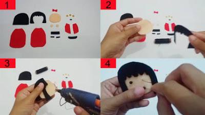 Cara Membuat Boneka Jepang dari Kain Flanel