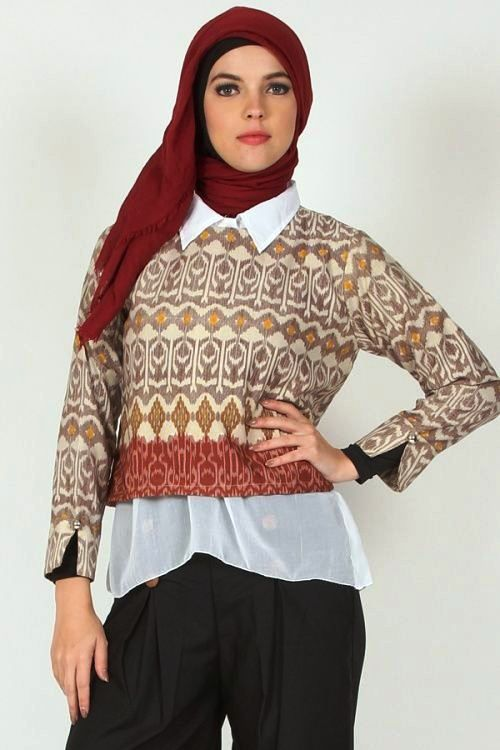 25 model baju batik atasan untuk wanita muslimah modern  trendy