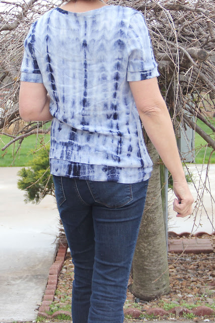 Style Maker Fabrics' Crinkle Rayon Challis Shibori dyed fabric made into a Sewaholic Renfrew top