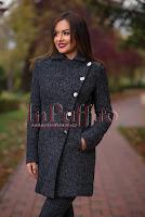 Palton gri din lana cu insertii piele ecologica