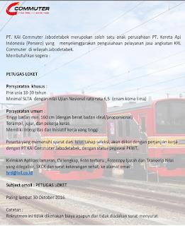 Lowongan Kerja BUMN Tingkat SMA Terbaru Kereta Api Commuter Jabodetabek