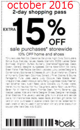 Past Belk Coupon Codes. These Belk promo codes have expired but may still work. 25% Off code. 25% Off Sitewide. Valid with your Belk rewards card and shopping pass. DER Get Promo Code Expired 12/06/ 20% Off code. 20% Off Sitewide. Valid today only for seniors, teachers and military.