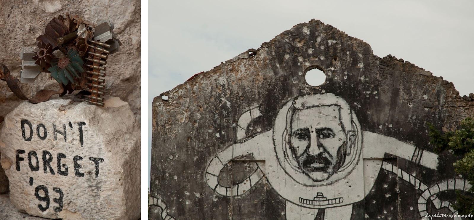 Señales de la guerra en Mostar