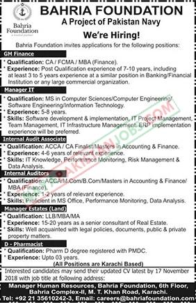 Latest Vacancies Announced in Pakistan Navy Bahria Foundation 7 November 2018 - Naya Pakistan