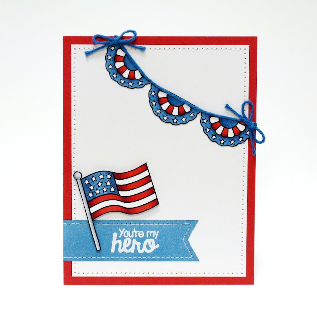 "Sunny Studio Stamps: Stars & Stripes Patriotic ""You're My Hero"" Card by Mendi Yoshikawa"
