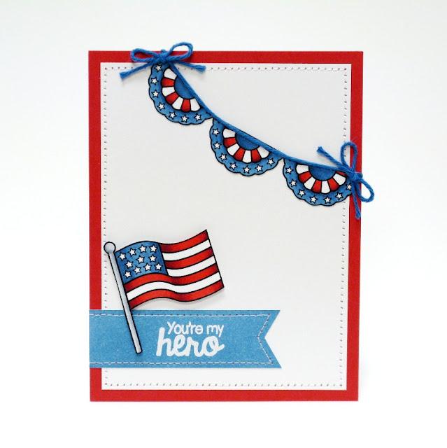 "Sunny Studio Stamps: Stars & Stripes Patriotic ""You're My Hero"" Card by Mendi Yoshikawa"