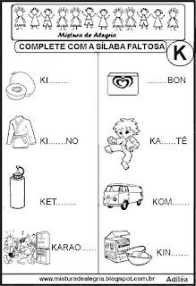 Atividades de alfabetização,sílabas faltosas