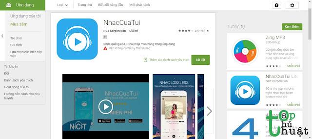 Phần mềm nghe nhạc miễn phí: Nhaccuatui