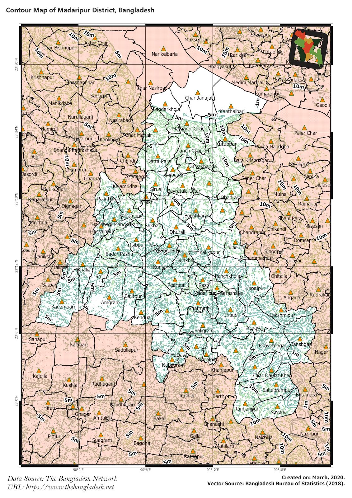 Elevation Map of Madaripur District of Bangladesh